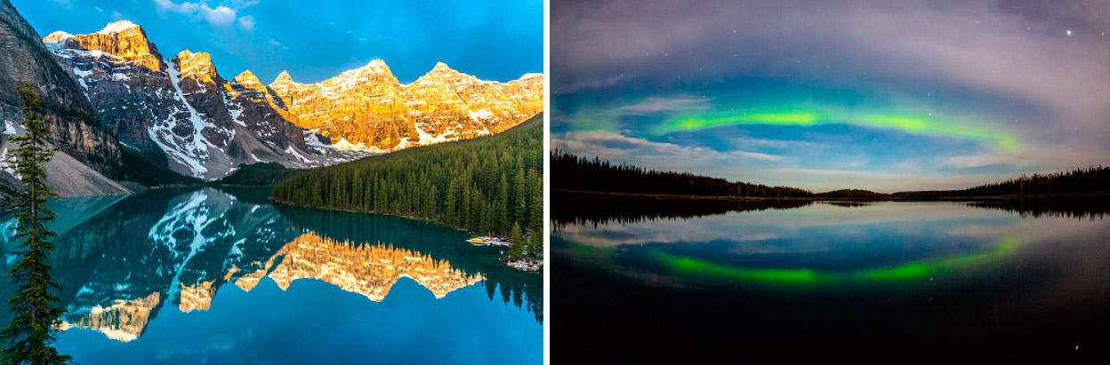 Канада северное сияние и озеро