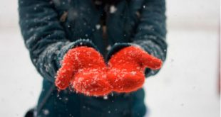 Снег на варежках, руки, зима
